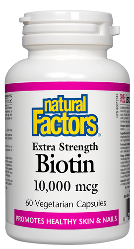 Natural Factors Biotin 10,000 mcg is a one-a-day vegetarian-friendly supplement that promotes healthy nails as well as prevents and improves splitting and brittle fingernail health. Biotin 10,000 mcg also increases the health of skin, strengthens and promotes thicker hair. This essential B vitamin helps the body metabolize carbohydrates, fats, and proteins for the maintenance of good health. Biotin is also available in 1000 mcg and 5000 mcg vegetarian capsules.
