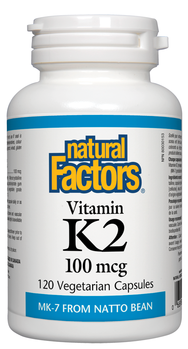 Vitamin K2 from Natural Factors contains MK-7, the most bioavailable form of vitamin K derived naturally from natto beans. Each dose provides 24-hour protection by guiding calcium toward the bones and teeth where it is needed most, and away from the arteries where it causes damage.