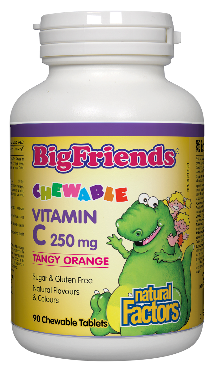 Big Friends children's vitamins are back in a big way, and now better than ever. Big Friends Chewable Vitamin C from Natural Factors is a fun and delicious way for children to keep their antioxidant intake up and their bones, cartilage, teeth, and gums healthy. Children love the tangy orange flavour, while the naturally low acid content protects teeth and tummies.