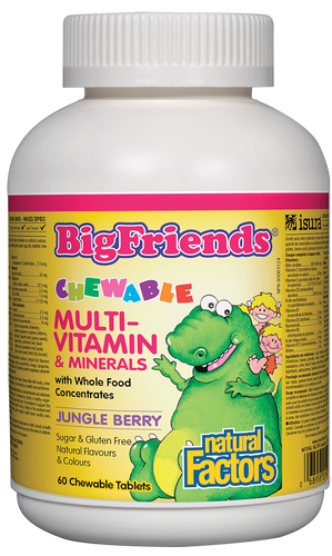 Big Friends children's vitamins are back in a big way, and now better than ever. Big Friends Chewable Multivitamin &Minerals provides children three years and older with optimal amounts of the vitamins and minerals their bodies need for good health. Whole food concentrates from Factors Farms supply phytonutrients, while delicious fruit flavours and friendly dinosaur shapes keep little ones smiling.