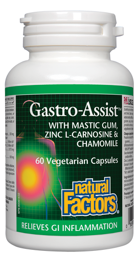 Natural Factors Gastro-Assist provides comprehensive gastrointestinal support, helping to soothe occasional digestive complaints including diarrhea, constipation, bloating, gas, and heartburn. This unique combination of mastic gum, probiotics, zinc L-carnosine, and chamomile helps protect the stomach and intestines by supporting healthy gut microflora and healthy immune function.
