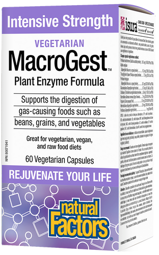 Natural Factors Vegetarian MacroGest is a unique intensive strength plant enzyme formula specially designed to support the breakdown of hard-to-digest foods such as beans, grains, and vegetables; helping to reduce gas and bloating. Vegan friendly and non-GMO, this product provides key enzymes to help digest foods, thus supporting nutrient absorption and colon health.