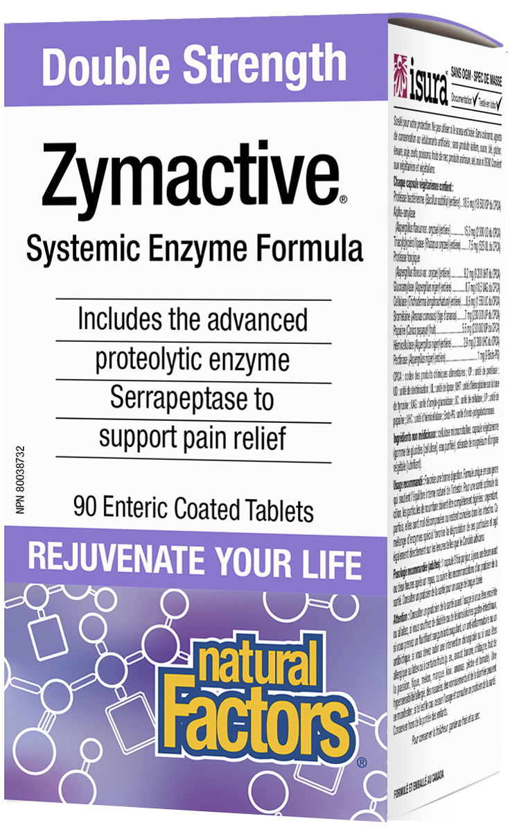 Natural Factors Double Strength Zymactive is a systemic enzyme formula with more than four times the potency of other proteolytic enzyme supplements. The unique combination of proteolytic enzymes breaks down proteins that cause inflammation and pain. The tablets are enteric coated to protect the enzymes from stomach acid during digestion.