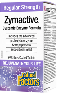 Natural Factors Regular Strength Zymactive is a systemic enzyme formula with more than twice the potency of other proteolytic enzyme supplements. The unique combination of proteolytic enzymes breaks down proteins that cause inflammation and pain. The tablets are enteric coated to protect the enzymes from stomach acid during digestion.