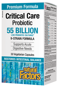 Natural Factors Critical Care Probiotic 55 Billion Active Cells contains nine Bifidobacteria and Lactobacilli species for acute targeted support of both the small and large intestines. It restores beneficial bacteria lost through antibiotic use and enhances immune health. This formula offers significant protection from bacterial infection, yeast overgrowth, and digestive discomfort.