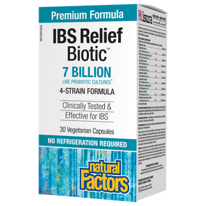Natural Factors Relief Biotic® is a multi-strain formula featuring 7 billion colony forming units (cfu) of probiotics, including Lactobacillus, Bacillus, and Enterococcus strains shown to relieve some symptoms of irritable bowel syndrome (IBS). This innovative probiotic formula also helps reduce the risk of antibiotic-associated diarrhea and is shelf stable – no refrigeration required!
