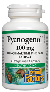 Inflammation and free radical damage increase as we age, contributing to many health problems. Natural Factors Pycnogenol is a powerful antioxidant and anti-inflammatory made from the highest quality French maritime pine bark. Pycnogenol strengthens cell membranes, contributing to improved circulation, younger looking skin, lower cholesterol, and better blood sugar balance.