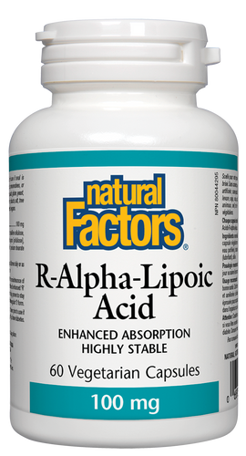 R-alpha-lipoic acid is a naturally occurring antioxidant which uniquely neutralizes damaging free radicals in all parts of the cell and boosts antioxidant defences by regenerating other antioxidants. The powerful antioxidant and regulating functions of alpha-lipoic acid make it an ideal supplement to improve health and protect against chronic disease and aging.