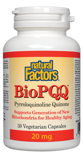 PQQ has antioxidant and B-vitamin-like activity, with a wide range of benefits for the brain and body. It promotes cognitive health and memory by combatting mitochondrial dysfunction and protecting neurons from oxidative damage. It supports energy metabolism and healthy aging. Natural Factors BioPQQ is created using a natural fermentation process which enhances absorption.