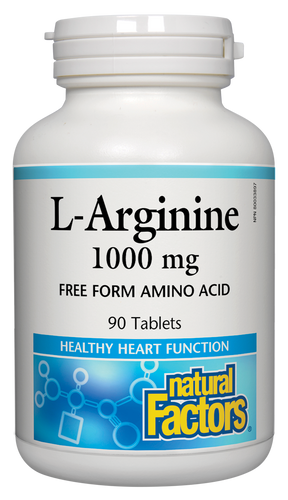 Natural Factors L-Arginine supports healthy heart function, circulation, immunity, and healing. As a free-form amino acid, it is more effective than when sourced from food. It promotes the secretion of growth hormone and boosts the body's nitric oxide production to relax blood vessels and improve blood flow.