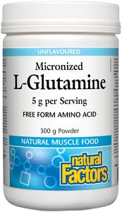 L-glutamine is an amino acid essential for recovery after strenuous exercise or critical illness. Following heavy or prolonged exercise it protects muscle tissue and supports muscle growth. Natural Factors Micronized L-Glutamine provides an easier form of glutamine for the body to absorb. It has no taste and mixes easily into water.
