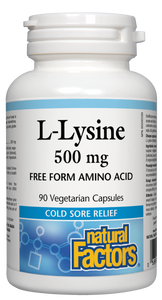 Natural Factors L-Lysine is an essential nutrient that provides relief from the herpes simplex virus (HSV). It works quickly to help reduce the recurrence, severity, and healing time of cold sores. The vegetarian capsule contains no corn, soy, wheat, gluten or yeast to support those on restricted diets.