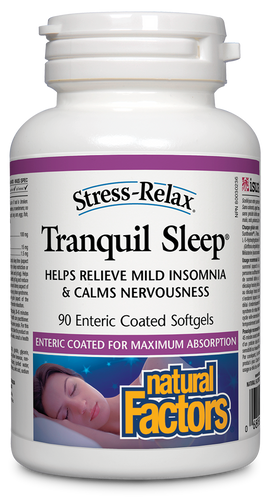 "Stress-Relax Tranquil Sleep® helps you fall asleep quickly, sleep soundly through the night, and wake up feeling refreshed, without the potentially serious mental and physical side effects caused by pharmaceutical ""sleeping pills."" Containing Suntheanine L-Theanine, melatonin, and 5-HTP, this natural alternative is completely safe, highly effective, and non-habit forming."