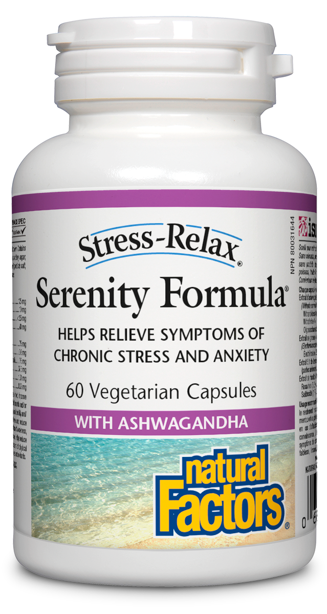 Stress-Relax Serenity Formula® is a unique mix of adaptogenic herbs designed to promote emotional well-being and to help the body cope with symptoms of stress naturally. It is the ideal formula for those suffering from adrenal exhaustion and other health issues caused by anxiety and chronic daily stress.