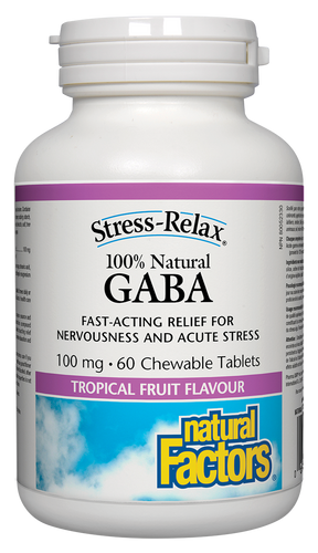 Fast-acting relief for nervousness and acute stress, Natural Factors Stress-Relax 100% Natural GABA is a superior source and naturally produced form of the important brain compound gamma-aminobutyric acid (GABA). Convenient chewable tablets in tropical fruit flavour help to quickly promote relaxation and ease nervous tension.