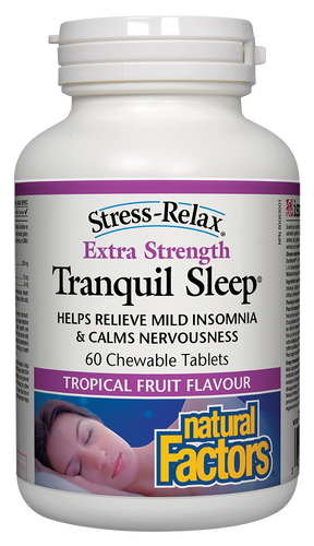 Stress-Relax Extra Strength Tranquil Sleep contains a synergistic combination of Suntheanine® L-theanine, 5-HTP, and melatonin to help you fall asleep quickly, sleep soundly, and wake up feeling refreshed. This higher potency formula comes in chewable tropical fruit flavoured tablets that improve relaxation and sleep quality in a safe, non-habit-forming way.