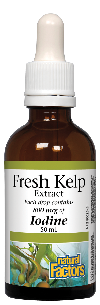 Natural Factors Fresh Kelp Extract is a natural source of iodine that the body needs to make thyroid hormones. It is hand harvested in a sustainable manner from the pristine coastal waters of British Columbia. A precision extraction process preserves freshness and kelp's spectrum of minerals, vitamins, and iodine.