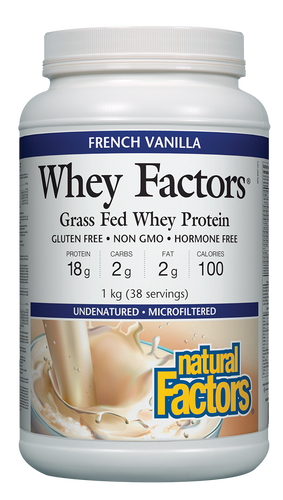 Natural Factors Whey Factors is a high-quality, low-carbohydrate protein powder drink mix, essential for physically active individuals due to its high biological value and concentration of muscle-enhancing branched-chain amino acids (BCAA). Research also shows that whey protein is beneficial to children, the elderly, and those who are immune-compromised.
