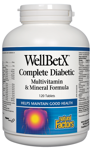 WellBetX Complete Diabetic Multivitamin &Mineral Formula from Natural Factors is the only multi specifically formulated to support healthy glucose metabolism. It provides a unique blend of key nutrients, which together help balance fluctuating blood sugar levels and help maintain good health.