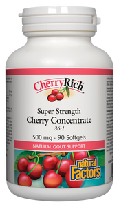 CherryRich Super Strength Cherry Concentrate is a non-GMO, 36:1 concentrate made from fresh whole Bing cherries, loaded with anthocyanins and other important phytonutrients. It is an essential supplement for anyone suffering from painful attacks of gout. Cherries are known to help reduce inflammation associated with arthritis and other inflammatory conditions.