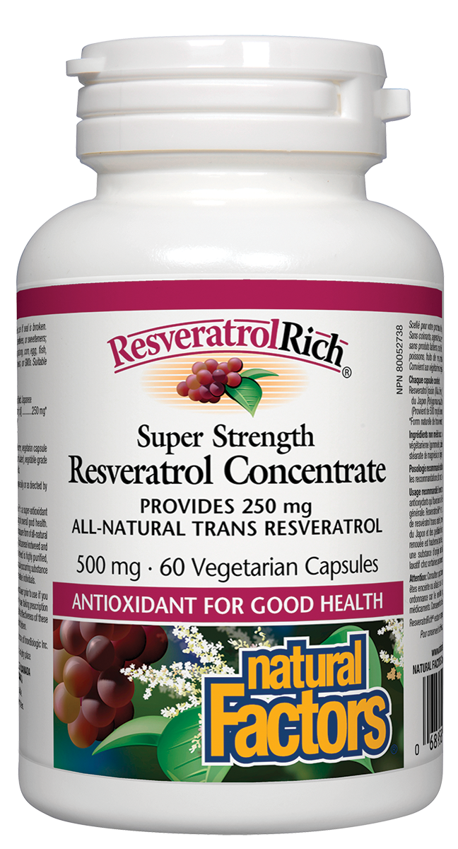 Natural Factors ResveratrolRich Super Strength Resveratrol Concentrate is a high potency compound extracted from the skins of red grapes grown in the Okanagan Valley of British Columbia, and from purified Japanese knotweed. Super antioxidant resveratrol protects against free radical damage to promote healthy aging and overall good health.