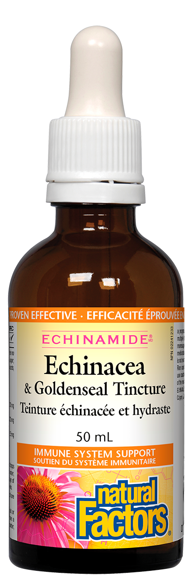 Natural Factors ECHINAMIDE Anti-Cold Echinacea & Goldenseal Tincture is certified organic and clinically proven for relief of sore throats and coughs. This combination of British Columbia-grown echinacea flowers and roots with goldenseal roots work together to fight a broad spectrum of viruses, bacteria, fungi, and yeasts.