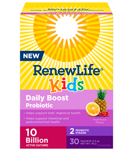 Renew Life® Kids Daily Boost Probiotic is formulated with 10 billion active cultures and 2 clinically-studied probiotic strainsto support kids' digestive and respiratory systems.