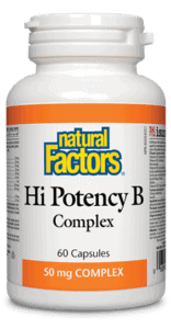 Natural Factors Hi Potency B Complex is a one-per-day formula that provides the full spectrum of all essential B vitamins. Each capsule contains a 50 mg potency that enhances energy levels by helping the body metabolize carbohydrates, proteins, and fats, as well as supporting red blood cell formation.