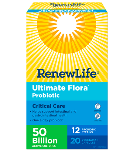 Ultimate Flora® Critical Care 50 Billion is a one-a-day probiotic that helps to support intestinal and gastrointestinal health.