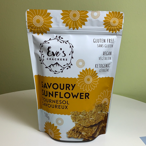 Eve's Crackers Savoury Sunflower Gluten-free, Ketogenic, Vegan Crackers