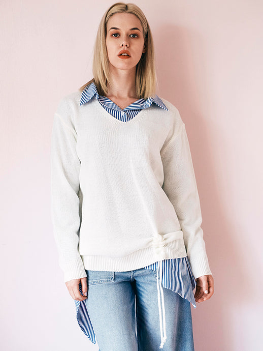 V neck deformation rib sleeve knit