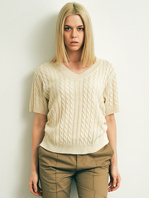 Side ribbon short sleeve knit