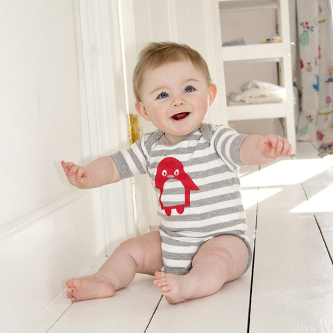 Jasper penguin baby bodysuit - grey