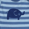 Tobytogs Toby elephant blue striped baby bodysuit close-up