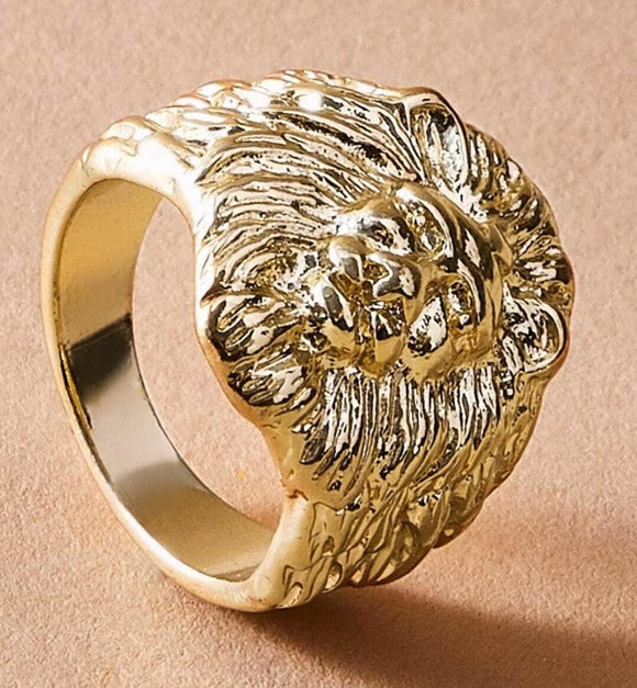 1pc Textured Lion Shaped Ring