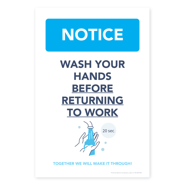 «Wash your hands before returning to work» sticker