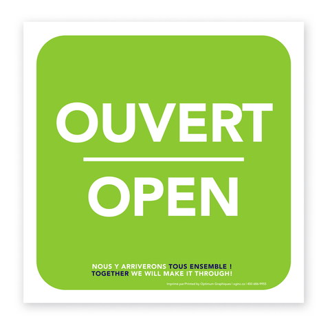 «Ouvert/Open» sticker