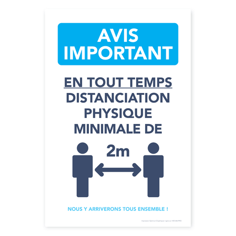 Autocollant «Avis Important - Distanciation physique»