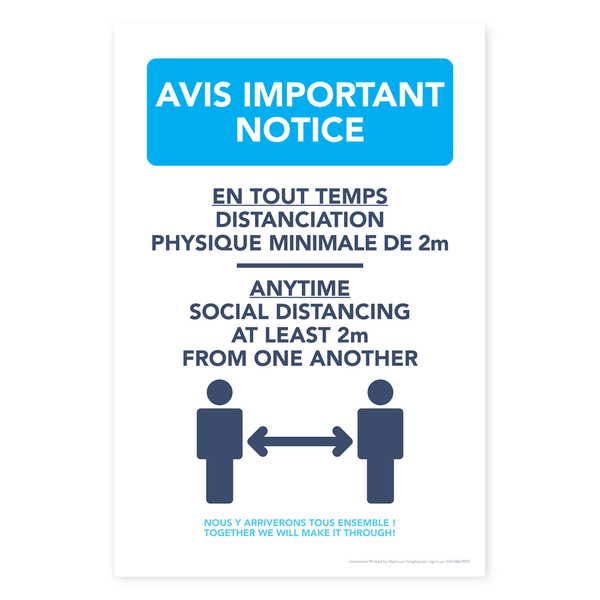 «Notice - Social distancing» poster