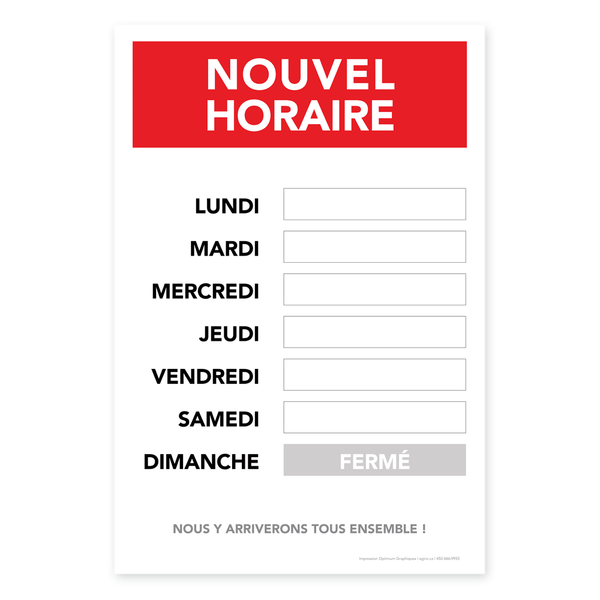 «New opening hours» sticker