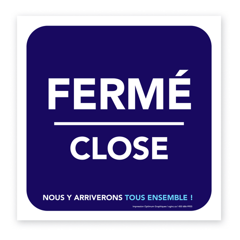 «Fermé/Close» sticker