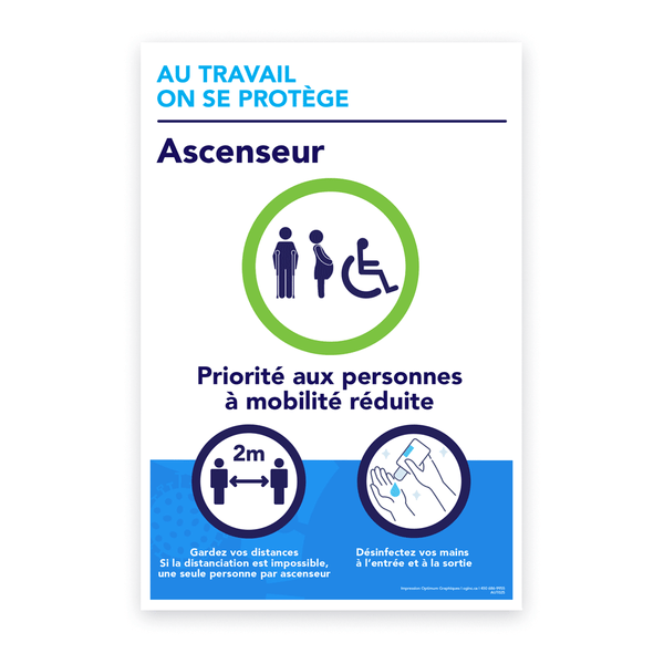Autocollant «Au travail on se protège - Ascenseur»
