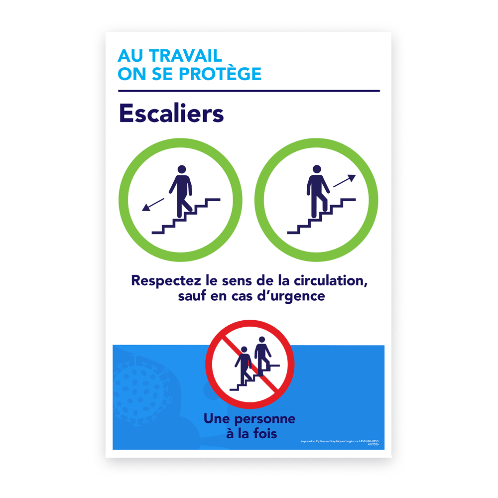 Autocollant «Au travail on se protège - Escaliers»