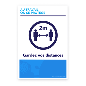 «At work, we protect ourselves - Keep your distance» sticker