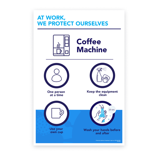 «At work, we protect ourselves - Coffee machine» sticker