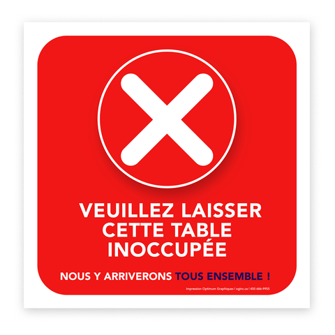 «Please leave this table unoccupied» sticker