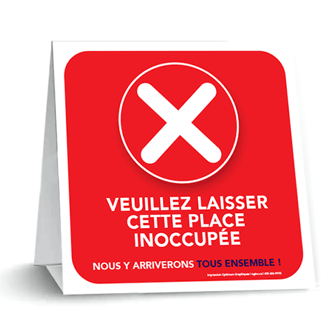«Please leave this place unoccupied» tent card