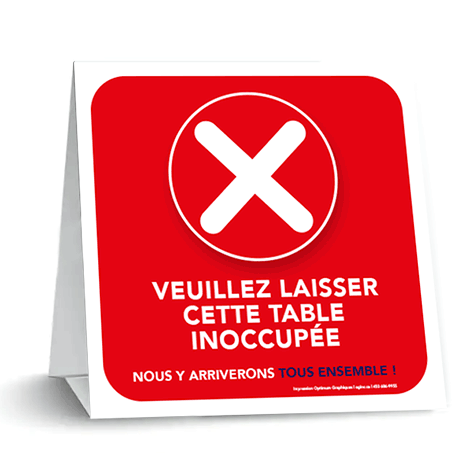 «Please leave this table unoccupied» tent card