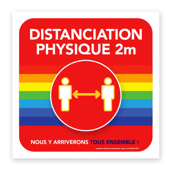 Autocollant «Distanciation physique - arc-en-ciel»