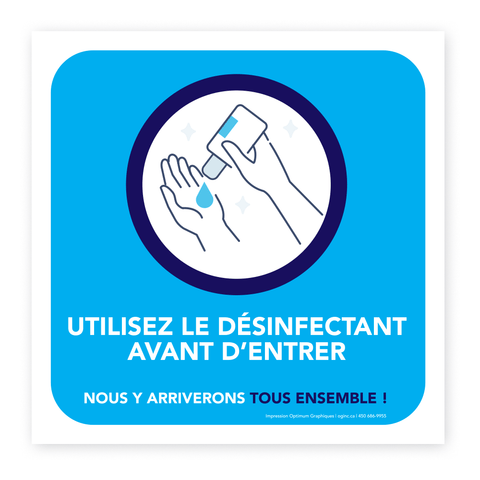 «Please use hands sanitizer before entering» sticker